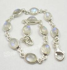 """925 Sterling Silver Fiery RAINBOW MOONSTONE Cute Delicate Bracelet 7.5"""""""