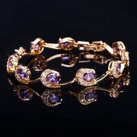 CWWZircons Gelbgold Luxus Lila Strass Kristall Armband für Frauen Mädchen