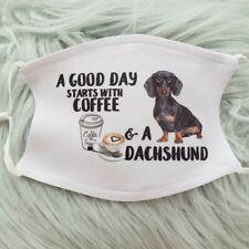 Face Mask Dachshund-good day coffee- dark dog washable, adjustable. 2 filters