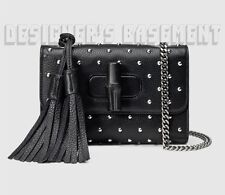 GUCCI black Leather MISS BAMBOO Tassels MINI chain Studded bag NWT Authent $1400