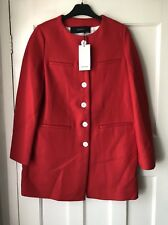 Zara Red Coat With Contrasting Buttons Size XS