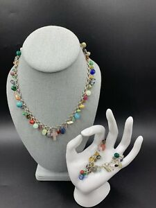 Sterling Silver Multi-Gemstone Charm Necklace & Bracelet SET