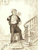 1866 Pen and Ink Drawing - Self Examination