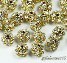 50pcs gold plated Ball shape rhinestone crystal spacer beads 6mm