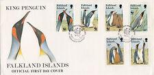 FALKLAND ISLANDS :1991 King Penguins /WWF  set SG633-8 illustrated FDC