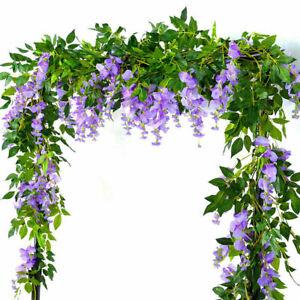 2X7FT Artificial Wisteria Vine Garland Plant Foliage Flowers Home Decor UK