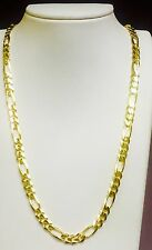"18k Solid Yellow Gold Italian Figaro Curb Link men's necklace 22"" 7 MM 50 grms"