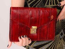 Beautiful Vintage oxblood red snakeskin python skin clutch bag with brass lock