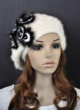 Beautiful Cute Real Fur Flowers Warm Winter Rabbit Fur Beret Hat Cap White M24