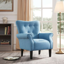 Elegant, Button Back Armchair Accent Living Room Linen Upholstered, Blue