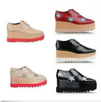 New Womens Oxford Wedge Heels Platform Pumps Lace Up Chunky Punk Retro Shoes
