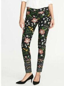 Old Navy ~ Pixie Mid Rise Black Capri Pants Spring Floral Print ~ Cotton Size 4