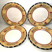 4 PIER 1 IMPORTS DONEVA DINNER  PLATES HANDPAINTED EARTHENWARE 10 5/8''