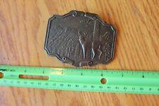 Brass belt buckle Buck Deer mountains scenery P 244 1 hunting buckle vintage