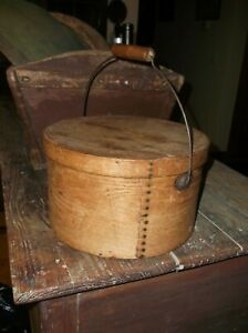 AAFAAntique Bentwood Pantry Box Grain Measure/Lid & Wire Wood Bail Handle