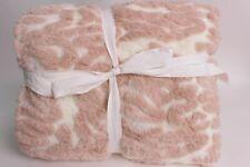 "Pottery Barn Kids PB Modern Zebra Fur throw blanket, blush pink white 45 x 60"""