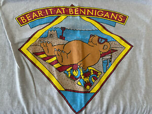 Vintage Bear It At Bennigans Shirt Size Medium Single Stitch EUC 1980's
