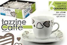 SET 6 TAZZINE CAFFE' CON PIATTINO QUADRATO IN PORCELLANA DEC. CUORE ELI-671180