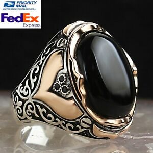 Turkish Jewelry 925 Sterling Silver Brown Tigers Eye Beautiful Stone Mens Ring