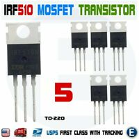 5pcs IRF510N IRF510 Power MOSFET N-Channel Transistor 5.6A 100V IRF510PBF TO-220