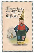 Daffydill Dutch Boy Comic Humor Niagara Falls New York Canada Postcard 1913