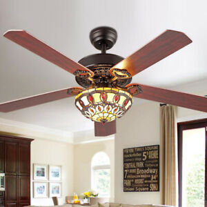 "52"" Ceiling Fan Chandelier LED Light Modern Remote Control 3 Speed Tiffany Style"