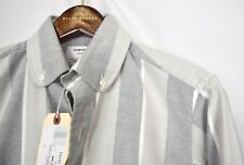 Thom Browne Gray Navy Striped Rare Men's Club Collar Shirt NEW Size 1 Small S