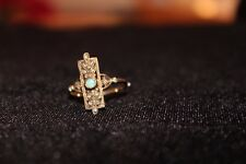 EXQUISITE VINTAGE 12 DIAMOND AND 3 FIRE OPAL FILIGREED LADIES RING SIZE 7