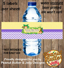 Personalised Monkey Jungle Baby Shower WATER BOTTLE Sticker Labels - 5 Per Page