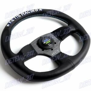 340mm KEY'S Racing Embroidery Leather Steering Wheel For OMP MOMO Spoon Sports