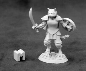 Reaper Miniatures Steelclaw, Catfolk Paladin #03928 Dark Heaven Unpainted Metal