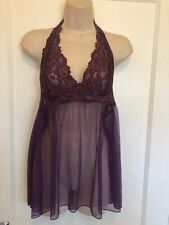Frederick's of Hollywood Nightgown Chemise  Purple Halter w/ Lace M Medium