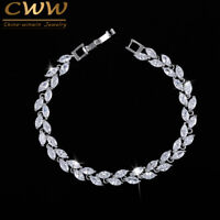 Luxury CZ Crystal Leaf Bracelet Multicolour Silver Xmas Gifts For Her Wife Women