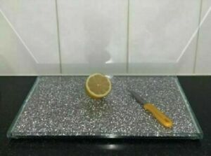 Large Crushed Diamond Chopping Board Crystal Filled Silver Placemat Sparkly Gift