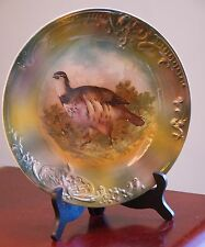 ANTIQUE BROTHERS URBACH (BU) PORCELAIN PLATE CZECH HUNTING BIRD GROUSE 10.75""