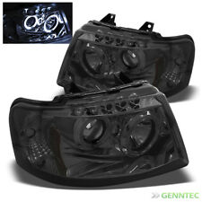For Smoked 03-06 Ford Expedition Halo LED Pro Headlights Smoke Head Lights