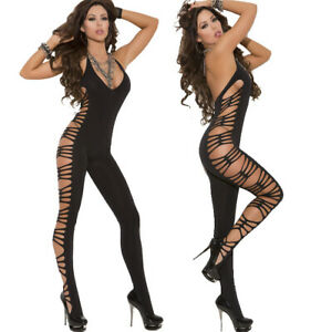 Elegant Moments Black Deep V Opaque W/Cut Out Side Jumpsuit Bodystocking O/S