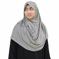 US Seller ~ Hayaa HEATHER GRAY Ready-to-Wear Instant Jersey Hijab 2 Face Loop