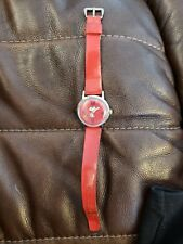 """Vintage Snoopy Timex Red Watch """"Floating Woodstock Sweep"""" Old store stock"""" MIB"""
