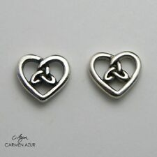 Solid 925 Sterling Silver Stud Earrings Celtic Heart Triquetra New with Gift Bag