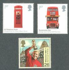 British Life Icons 3mnh-Great Britain-Bus-Phone Box-Bobby Moore World Cup