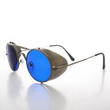 Gun Metal Steampunk Sunglass with Folding Side Shields Blue Lens - Bram