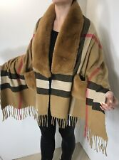 Pashmina Wrap Faux Fur Collar & Pockets Checked Fringing Tan Soft Oversized NEW