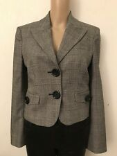 MICHAEL KORS Black And White Blazer Stretch Wool Fitted Women's Jacket Size 4