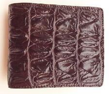 100% Genuine crocodile tail skin leather bifold men brown wallet