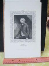 Vintage Print,RICHARD BRINSLEY SHERIDAN,Worlds Great Men,19th Cent.Steel Engrave