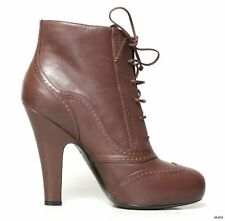 new $890 BOTTEGA VENETA brown lace-up platform ANKLE BOOTS shoes 39.5 US 9.5