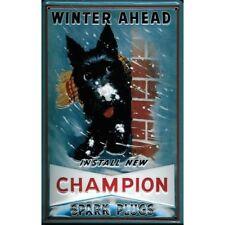 CHAMPION SPARK PLUGS :EMBOSSED(3D) METAL ADVERTISING SIGN 30X20cm SCOTTIE DOG