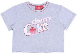 Grey Crop Top, T-shirt For Ladies CHERRY COKE COCA-COLA