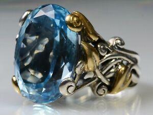 Barbara Bixby Oval Blue Topaz Vine & Leaf Sterling Silver 18k Gold Ring Size 6